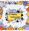 Halloween kawaii greeting card with cute doodles vector image vector image