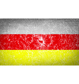 Flags North Ossetia with broken glass texture vector image