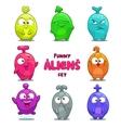 Funny cartoon colorful aliens vector image