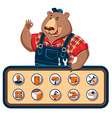 worker bear icons vector image