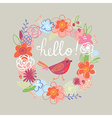 Floral  Hello card vector image