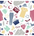Fashion shopping icons seamless background vector image