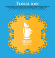 Organic natural tea icon Floral flat design on a vector image