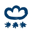 Painted Blue Snowy Cloud Icon vector image