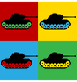 Pop art panzer icons vector image