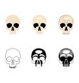Set icons human skulls logo in various styles vector image