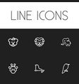 set of 6 editable zoo icons includes symbols such vector image