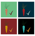 set of carrot flat icon carrot icon on background vector image