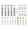 set of steel screws bolts nuts and rivets top vector image