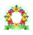 Tropical flowers wreath frame vector image