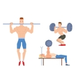 Man lifting heavy weight barbell sport gym people vector image