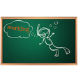 A blackboard with a boy swimming vector image
