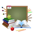 Blank chalkboard and books vector image