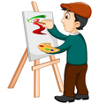cute artist painter was painting vector image