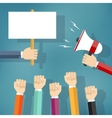 Hands holding protest sign and bullhorn vector image