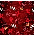 Red pattern with angels Mosaic vector image