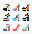 Retro colorful and trendy women platform shoes set vector image