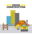 under construction building bulldozer wall brick vector image