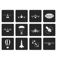 Black different types of Aircraft vector image vector image