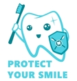 Flat Cute Tooth Character flossing brushing vector image