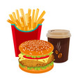 hamburger fried potatoes in red package and cup vector image