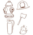 Simple sketches of the things used by a fireman vector image