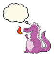 cartoon fire breathing dragon with thought bubble vector image