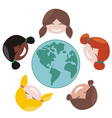 Happy mulicultural girls around the world vector image