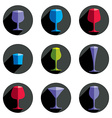 Colorful drinking glasses collection Set of vector image
