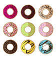 donut minimalistic flat set vector image