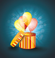 Open gift box with ballons and magic light vector image