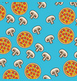 pizza and mushroom pattern colorful in blue vector image