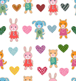 Seamless pattern with baby animals vector image