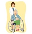young nurse pushing senior woman in wheelchair vector image