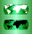 Silhouette green globe map material design vector image