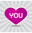 Love You Theme with Purple Paper Heart on Retro vector image