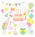 Birthday celebration attributes icons vector image
