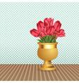 Bouquet of tulips in vase vector image