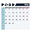 Calendar 2017 May design template Week vector image