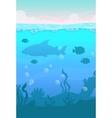 Cartoon vertical underwater landscape vector image