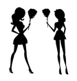 Clip art of a sexy house maid in silhouette vector image