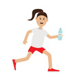 Funny cartoon running girl holding water bottle vector image