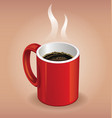 Red coffee cup on brown background vector image