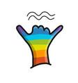 surfer shaka gesture hand sketch for your design vector image