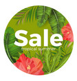 tropical summer sale promotional poster with vector image
