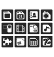 Black Mobile Phone Computer and Internet Icons vector image