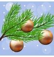 Christmas branch with hanging Christmas ball vector image