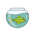 Fish animal cartoon inisde bowl design vector image