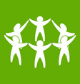 team or friends icon green vector image