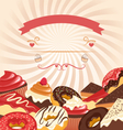 Sweets with radial stripes on beige vector image